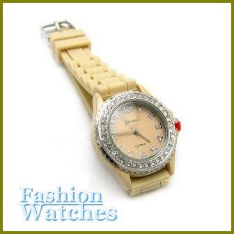 Great! Sand beige rubber strap fashion watch with bonus gifts. Metro Unisex.
