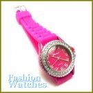 Intense fuchsia rubber strap watch with bonus gifts. Metro Unisex.