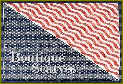 GILVANDIA COUTURE satin stipe pride in Our Country pattern boutique scarf.