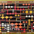 GILVANDIA COUTURE satin striped earth tone diamond pattern boutique scarf.