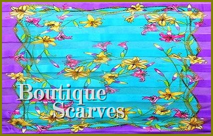 GILVANDIA COUTURE classic aqua and deep purple garden pattern boutique scarf.