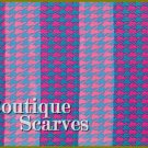 GILVANDIA COUTURE classic aqua and intense fuchsia houndstooth pattern boutique scarf.