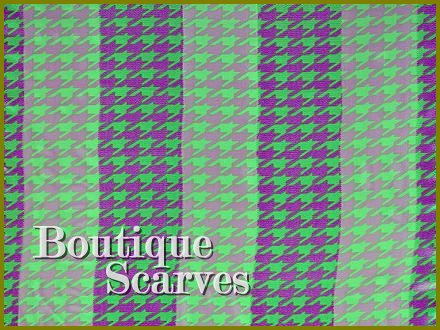 GILVANDIA COUTURE classic lime and intense violet houndstooth pattern boutique scarf.
