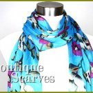 GILVANDIA COUTURE intense turquoise floral print and fringe design boutique scarf.
