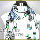 GILVANDIA COUTURE bright white floral print design boutique scarf.