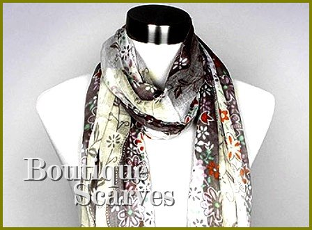 GILVANDIA COUTURE grey and white floral print design boutique scarf.