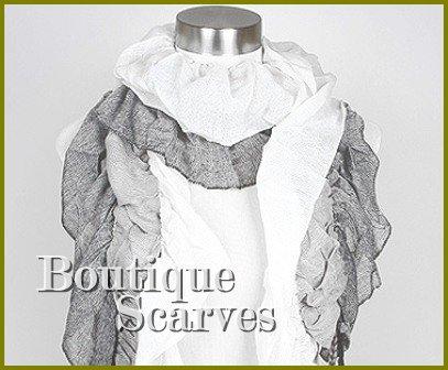 GILVANDIA COUTURE white with black exceptional diamond woven print design boutique scarf.