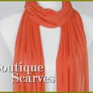 GILVANDIA COUTURE bright orange exceptional solid knit design boutique scarf.