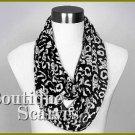 GILVANDIA COUTURE jet black burnout ring boutique scarf.