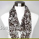 GILVANDIA COUTURE chocolate brown burnout ring boutique scarf.