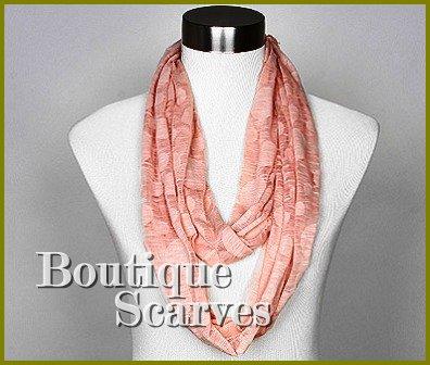 GILVANDIA COUTURE peach burnout ring boutique scarf.