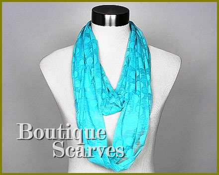 GILVANDIA COUTURE bright sky blue burnout ring boutique scarf.