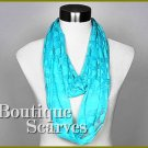 GILVANDIA COUTURE bright sky blue burnout ring boutique scarf.