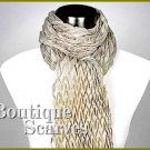 GILVANDIA COUTURE pleated design retro beige boutique scarf.