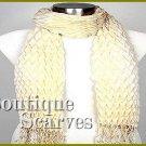 GILVANDIA COUTURE pleated design retro ivory boutique scarf.