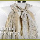 GILVANDIA COUTURE beige with ivory accordion pleated woven design Boutique Scarf.