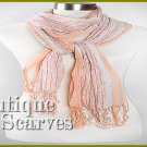 GILVANDIA COUTURE peach with ivory accordion pleated woven design Boutique Scarf.