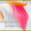 GILVANDIA COUTURE sunny pink and peach accordion pleated woven design Boutique Scarf.