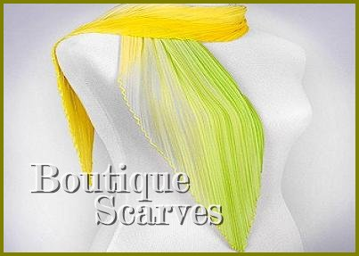 GILVANDIA COUTURE Boutique Scarf with sunny yellow with lime accordion pleated woven design.