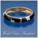 Jacques Rennes Lacoste fashion bracelet with black, white floral details and boutique design.