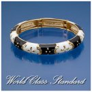 Jacques Rennes Lacoste fashion bracelet with black, white details and gold-moda design.