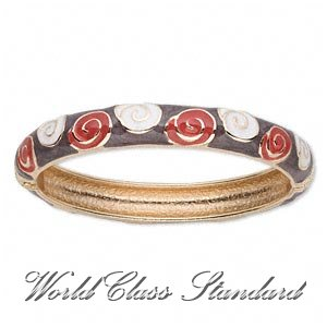 Boutique bracelet featuring multicolored enamel details with rhodium-plated pewter finish.