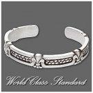 Absolu® pewter fashion bracelet with black enamel, fleur-de-lis design design by J. R.Lacoste.