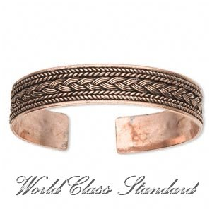 J. R.Lacoste fashion bracelet with brushed Absolu® copper, twisted wire and braided pattern.