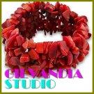 GILVANDIA STUDIO handcrafted red gemstones fashion bracelet on sale.