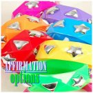 An array of 6 Voi SINFUL® vivacious acrylic ladies bracelets with silvertone studs.