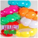 Stack-up a set of 6 extra large candy colored fashion bracelets for a vogue look.