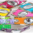 An ultimate set of ladies bracelets featuring colorful epoxy and large acrylic stones.