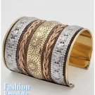 Grand tri-tone cuff fashion bracelet and free fashion gifts by AFFIRMATION COUTURE.