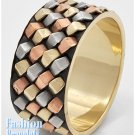 Tri-tone tooled bangle fashion bracelet and free fashion gifts by AFFIRMATION COUTURE.