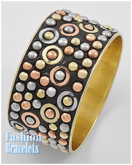 Tri-tone bangle fashion bracelet and free fashion gifts by AFFIRMATION COUTURE.