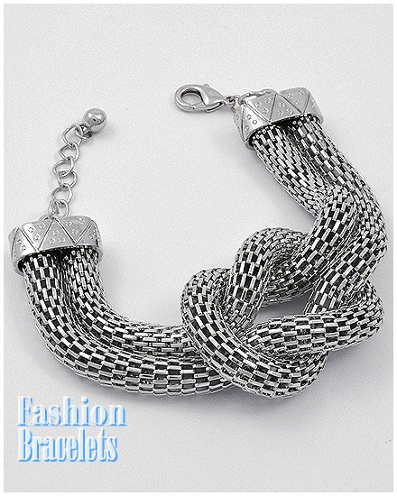Silvertone skin mesh fashion bracelet and free fashion gifts by AFFIRMATION COUTURE.