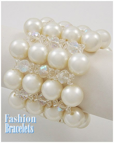 Soft Cream acrylic pearls fashion bracelet and free fashion gifts by AFFIRMATION COUTURE.