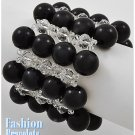 Jet black acrylic pearls fashion bracelet and free fashion gifts by AFFIRMATION COUTURE.