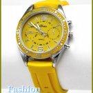 Women's celebrity runway style, 'Vette yellow rubber strap fashion watch on sale.