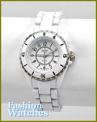 Women's celebrity runway style, blizzard white coated metal fashion watch on sale.