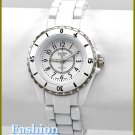 Women's celebrity runway style, blizzard white coated metal fashion watch on sale.