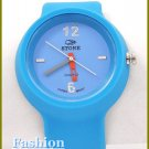 Women's celebrity runway, powder blue rubber band fashion watch on sale.