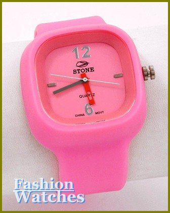 Women's celebrity runway, candy pink rubber band fashion watch on sale.