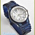 Women's celebrity runway, navy rubber band fashion watch on sale.