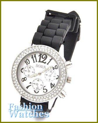 Women's celebrity runway, jet black rubber band fashion watch on sale.