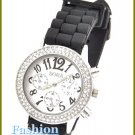 Women's celebrity runway, jet black rubber band fashion watch on sale.