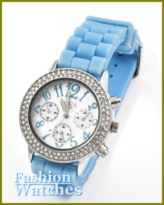 Women's celebrity runway accent stones,  turquoise rubber band fashion watch on sale.