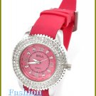 Women's celebrity runway accent stones, candy pink rubber band fashion watch on sale.