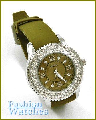 Women's celebrity runway accent stones, garden green rubber band fashion watch on sale.