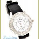 Women's celebrity runway jet black rubber watchband fashion watch on sale.
